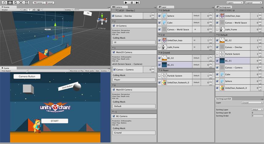 Layer Manager Yae を Unity に導入した画面写真